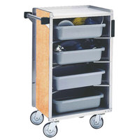 Lakeside 890HRM Medium-Duty Stainless Steel Enclosed Bussing Cart with Ledge Rods and Hard Rock Maple Finish - 17 5/8 inch x 27 3/4 inch x 42 7/8 inch
