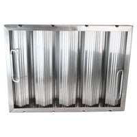 All Points 26-3891 12 inch(H) x 16 inch(W) x 2 inch(T) Stainless Steel Hood Filter - Ridged Baffles