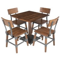 Lancaster Table & Seating 30 inch Square Antique Walnut Solid Wood Live Edge Dining Height Table with 4 Chairs