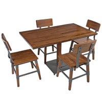 Lancaster Table & Seating 30 inch x 48 inch Antique Walnut Solid Wood Live Edge Dining Height Table with 4 Chairs