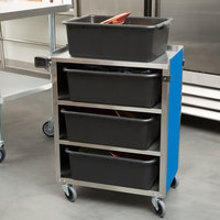 Lakeside 615BL Standard-Duty Stainless Steel Four Shelf Utility Cart with Enclosed Base and Royal Blue Finish - 16 1/2 inch x 27 3/4 inch x 32 3/4 inch