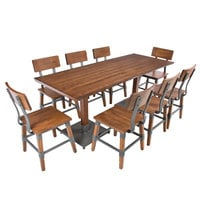 Lancaster Table & Seating 30 inch x 72 inch Antique Walnut Solid Wood Live Edge Dining Height Table with 8 Chairs