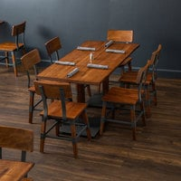 Lancaster Table & Seating 30 inch x 60 inch Antique Walnut Solid Wood Live Edge Dining Height Table with 6 Chairs