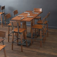 Lancaster Table & Seating 30 inch x 60 inch Antique Walnut Solid Wood Live Edge Bar Height Table with 6 Bar Chairs