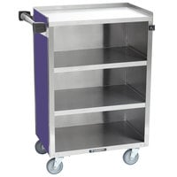 Lakeside 815P Medium-Duty Stainless Steel Four Shelf Utility Cart With Enclosed Base and Purple Finish - 16 7/8 inch x 28 1/4 inch x 37 1/2 inch