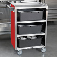 Lakeside 815RD Medium-Duty Stainless Steel Four Shelf Utility Cart With Enclosed Base and Red Finish - 16 7/8 inch x 28 1/4 inch x 37 1/2 inch