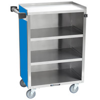 Lakeside 815BL Medium-Duty Stainless Steel Four Shelf Utility Cart With Enclosed Base and Royal Blue Finish - 16 7/8 inch x 28 1/4 inch x 37 1/2 inch
