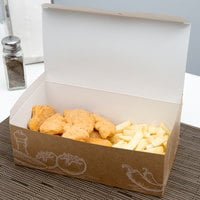 9 inch x 5 inch x 3 inch Take Out Lunch / Snack / Chicken Box with Fresh Print Design - 250/Case