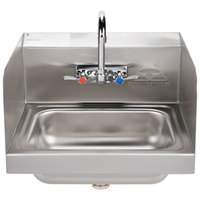Advance Tabco 7-PS-66 Hand Sink with Splash Mounted Gooseneck Faucet and Side Splash Guards - 17 1/4 inch