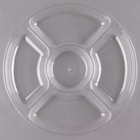 Fineline D12050.CL Innovative Caterware 12 inch Round Clear Plastic 5-Compartment Tray - 25/Case