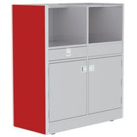 Lakeside 4608RD 48 inch Stainless Steel Mobile Setup Station with Red Laminate Finish