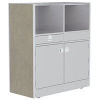 Lakeside 4608BS 48 inch Stainless Steel Mobile Setup Station with Beige Suede Laminate Finish
