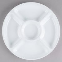 Fineline D12050.WH Innovative Caterware 12 inch Round White Plastic 5-Compartment Tray   - 25/Case
