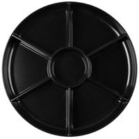 Fineline D16777.BK Innovative Caterware 16 inch Round Black Plastic 7-Compartment Tray   - 12/Case