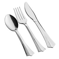 Silver Visions Heavy Weight Silver Plastic Basic Cutlery Set (50 Sets / 150 Pieces Total)