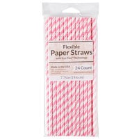 Creative Converting 051160 7 3/4 inch Jumbo Candy Pink / White Stripe Paper Straw - 24/Pack