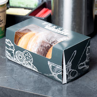 9 inch x 4 1/2 inch x 4 inch Auto-Popup Window Cake / Bakery / Donut Box with Fresh Print Design - 100/Case