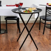 Lancaster Table & Seating 19 inch x 17 inch x 31 inch Folding Tray Stand Black Metal