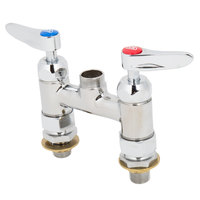 T&S B-0225-LN-CC-CR Deck Mounted Faucet Base with 4 inch Centers, No Spout, Cerama Cartridges, and Lever Handles