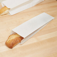 Bagcraft Packaging 300153 4 inch x 2 1/2 inch x 16 inch Plain Unwaxed White Paper Bread / Hoagie Bag - 1000/Case