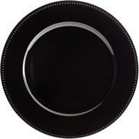 Tabletop Classics by Walco TR-6655 13 inch Black Round Plastic Charger Plate with Beaded Rim