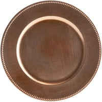 Tabletop Classics by Walco TRC-6655 13 inch Copper Round Plastic Charger Plate with Beaded Rim