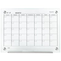 Quartet GC2418F Infinity 18 inch x 24 inch Frameless Magnetic White Glass Monthly Calendar Markerboard