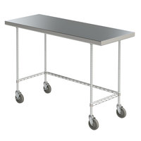 Metro MWTS2460US Space Saver 24 inch x 60 inch 14-Gauge Stainless Steel Heavy-Duty Mobile Work Table