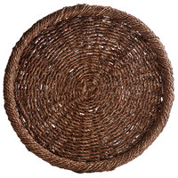 The Jay Companies 1660155 13 3/4 inch Chocolate Round Rattan Charger Plate