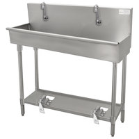 Advance Tabco 19-18-120FV 16-Gauge Multi-Station Hand Sink with 8 inch Deep Bowl and 6 Toe Operated Faucets - 120 inch x 17 1/2 inch