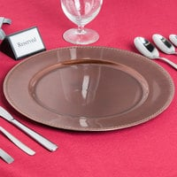 The Jay Companies 1270466 13 inch Rose Gold Beaded Round Plastic Charger Plate