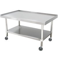 Advance Tabco ES-305C 30 inch x 60 inch Stainless Steel Equipment Stand with Stainless Steel Undershelf and Casters