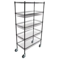 Regency NSF Black Epoxy 4 Basket and 1 Shelf Kit - 18 inch x 36 inch x 69 inch