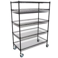 Regency NSF Black Epoxy 4 Basket and 1 Shelf Kit - 24 inch x 48 inch x 69 inch