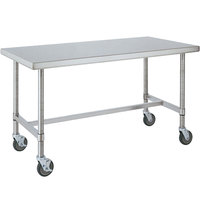 14 Gauge Metro MWT309HS 30 inch x 96 inch HD Super Open Base Stainless Steel Mobile Work Table
