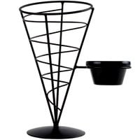 Tablecraft ACR57 Vertigo Round Black Appetizer Wire Cone Basket with 1 Ramekin - 5 inch x 7 inch