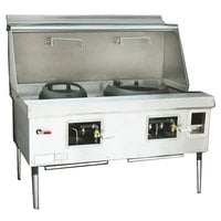Town Y-2-SS-N York™ Two Chamber Natural Gas Wok Range with 13 inch Mandarin and 20 inch Cantonese Chamber - 191,000 BTU
