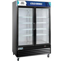 "Avantco GDC-49-HC 53"" Black Swing Glass Door Merchandiser Refrigerator with LED Lighting"