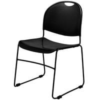 National Public Seating 850-CL Commercialine Black Plastic Stackable Chair with Black Steel Sled Base