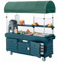 Cambro KVC854C192 CamKiosk Granite Green Vending Cart with 4 Pan Wells and Canopy
