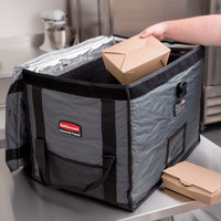 Rubbermaid FG9F1600CGRAY ProServe Insulated Food Pan Carrier Top Load Full Size Gray Nylon 28 inch x 19 1/4 inch x 19 1/2 inch