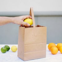 1 Peck Natural Brown Kraft Paper Produce Customizable Market Stand Bag with Handle - 500/Case