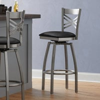 Lancaster Table & Seating Cross Back Bar Height Clear Coat Swivel Chair with Black Vinyl Seat