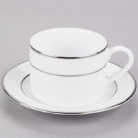 10 Strawberry Street DSL0009 6 oz. Double Line Silver Porcelain Can Cup with Saucer - 24/Case