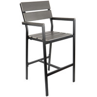 BFM Seating PH201BGRTK-BL Seaside Black Aluminum Outdoor / Indoor Armed Bar Height Chair with Gray Synthetic Teak Back and Seat