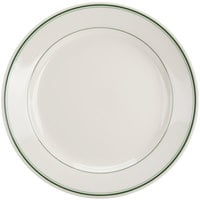 Homer Laughlin by Steelite International HL2041 Green Band Rolled Edge 8 1/4 inch Ivory (American White) China Plate - 36/Case