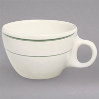 Homer Laughlin by Steelite International HL1021 Green Band 7.5 oz. Ivory (American White) China Ovide Cup - 36/Case