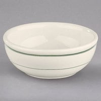 Homer Laughlin by Steelite International HL1941 Green Band 11 oz. Ivory (American White) China Nappie Bowl - 36/Case