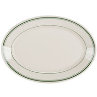Homer Laughlin by Steelite International HL1521 Green Band Rolled Edge 8 1/8 inch x 5 3/4 inch Ivory (American White) Oval China Platter - 36/Case