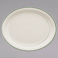 Homer Laughlin by Steelite International HL2621 Green Band Narrow Rim 12 1/2 inch x 10 1/4 inch Ivory (American White) Oval China Platter - 12/Case